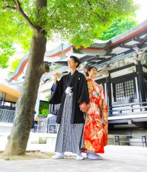 亀有香取神社でのロケーション撮影:神社前