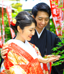 亀有香取神社でのロケーション撮影:新郎新婦アップ
